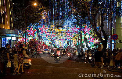 Street decorated for Christmas in Vietnam Editorial Photography