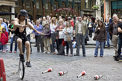 Street entertainer in Covent Garden Market area of Editorial Image