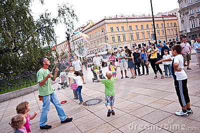 Street entertainer in Warsaw Editorial Photography