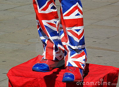 Street entertainer wearing Union Jack suit