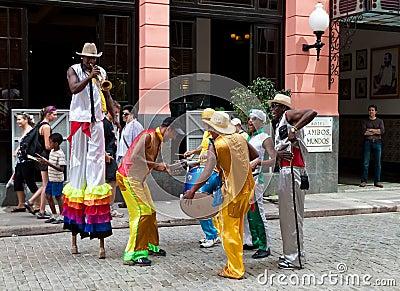 Street entertainers in Old Havana Editorial Stock Photo