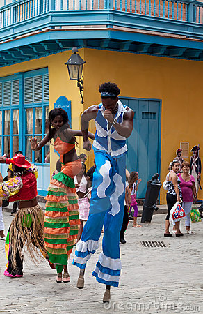 Street entertainers in Old Havana Editorial Stock Photo