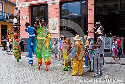 Street entertainers in Old Havana October 2 Editorial Photo