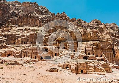 Street of Facades in nabatean city of  petra jordan