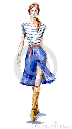 Free Street Fashion. Fashion Illustration Of A Girl Walking. Summer Look. Watercolor Painting. Royalty Free Stock Photos - 45443658