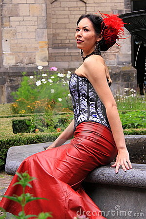 Street fashion red leather skirt Editorial Stock Photo