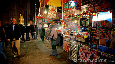 Street Food Carts in Manhattan Editorial Stock Image