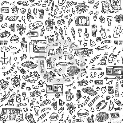 Street food festival hand drawn doodles seamless pattern. Monochrome background Vector Illustration