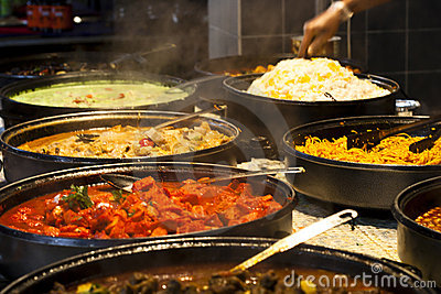 Street food: indian kitchen spicy buffet