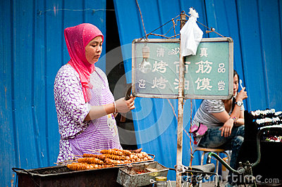 Street food at Muslim Street in Xian Editorial Photography