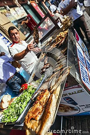 Street food: turkish kitchen fish bread Editorial Stock Image