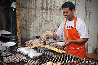 Street Food Vendor in Bangkok Editorial Photo
