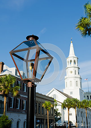 Street gas lamp in Charleston, SC