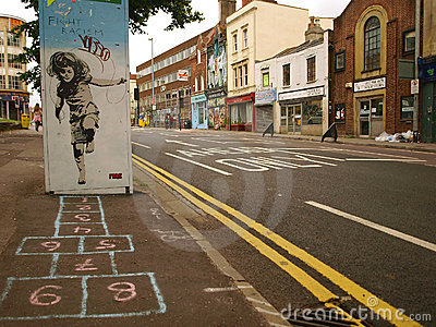 Street Graffiti of a Girl Playing Hopscotch Editorial Image