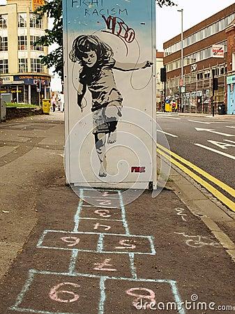 Free Street Graffiti Of A Girl Playing Hopscotch Royalty Free Stock Image - 15763796