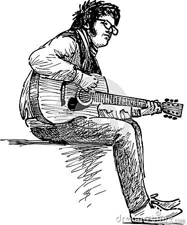 Free Street Guitarist Stock Images - 44814004