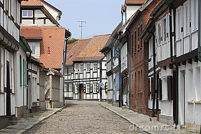 Street with half-timbered houses in Tangermuende
