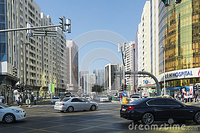 Street intersection Abu Dhabi Editorial Stock Photo