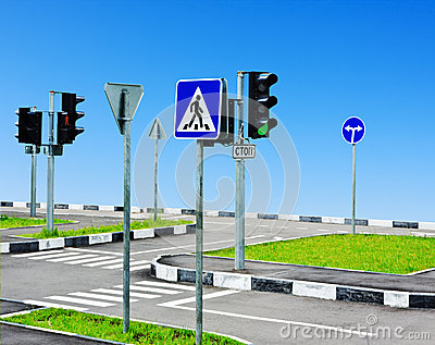 Street intersection and road