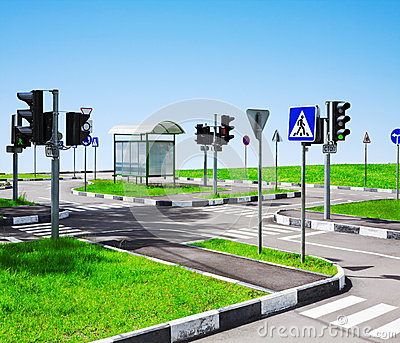 Street intersection and road signs