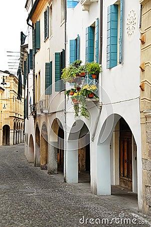 Street in Italy, terrace with flowerpots