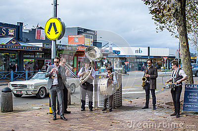 Street Jazz Band performing on Mornington streets Editorial Photography