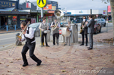 Street Jazz Band performing on Mornington streets Editorial Image