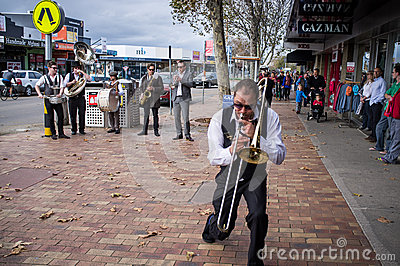 Street Jazz Band performing on Mornington streets Editorial Stock Image