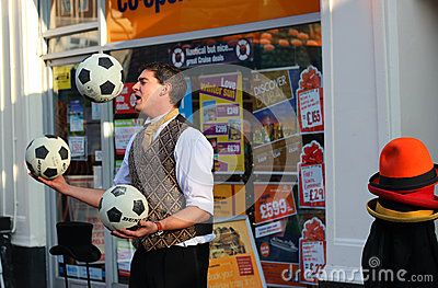 Street Juggler Bedford. Editorial Stock Photo