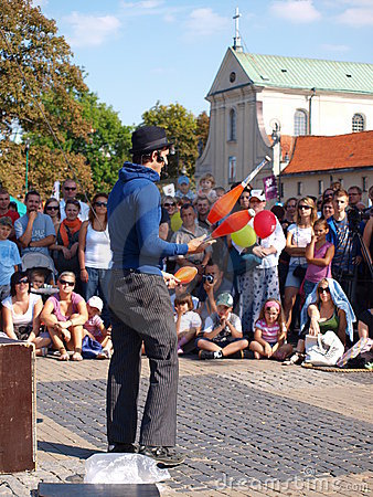 Street juggler, Lublin, Poland Editorial Image