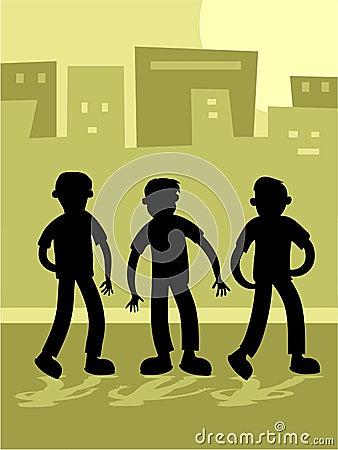 Street Kids Silouette