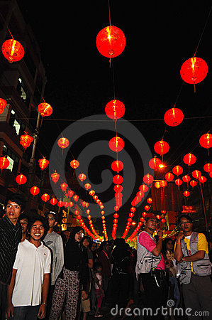 Street lamp with the crowd Editorial Stock Photo