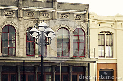 Street Lamp & Historical Buildings in Downtown Galveston, Texas