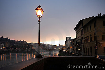 Street Lamp Near River
