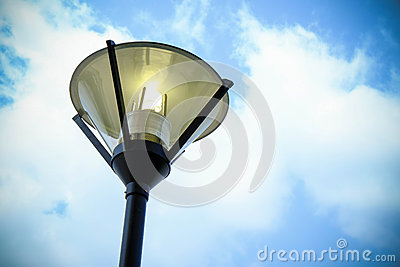 Street lamp opened and sky