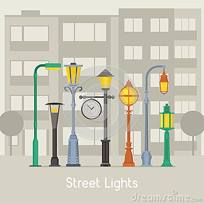 Free Street Lamps And Lamp Posts Banner Stock Image - 88872081