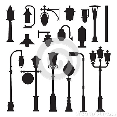 Free Street Lamps And Lamp Posts Icons Royalty Free Stock Photo - 88872045