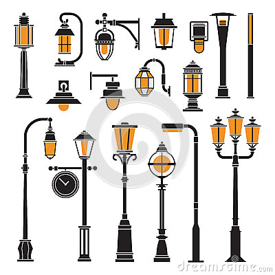 Free Street Lamps And Lamp Posts Icons Stock Photos - 88872143