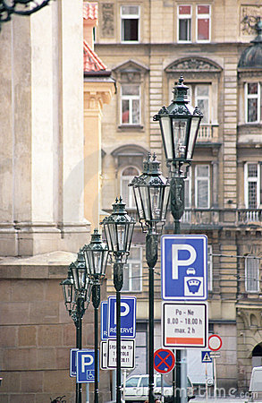 Street lamps and traffic signs in Prague.