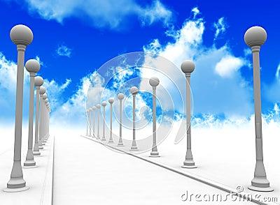 Street lanterns and sky