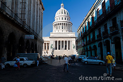 Street leading to the Capitol  in Havana Editorial Stock Photo
