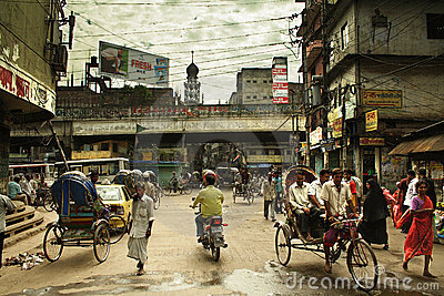 Street life in Old Dhaka Editorial Stock Image