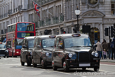 Street in London with taxi s