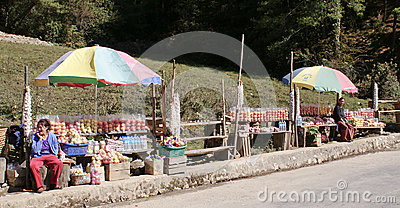 Street market in Bhutan Editorial Image