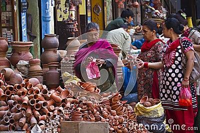 Street market in Kathmandu, Nepal Editorial Photography