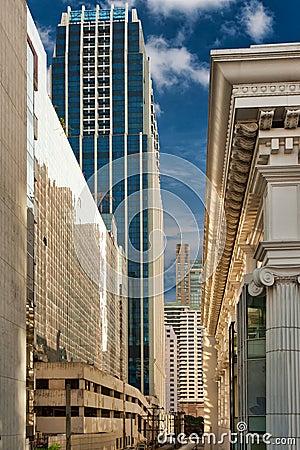 Street metropolis of skyscrapers