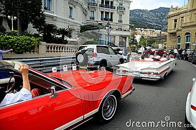 Street of Monte Carlo -veteran car limousine Editorial Stock Photo