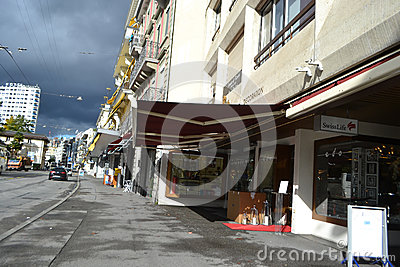 Street in Montreux, Switzerland Editorial Photo