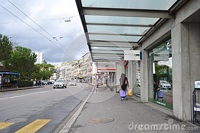 Street in Montreux, Switzerland Editorial Photography