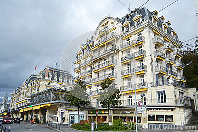 Street in Montreux, Switzerland Editorial Stock Photo